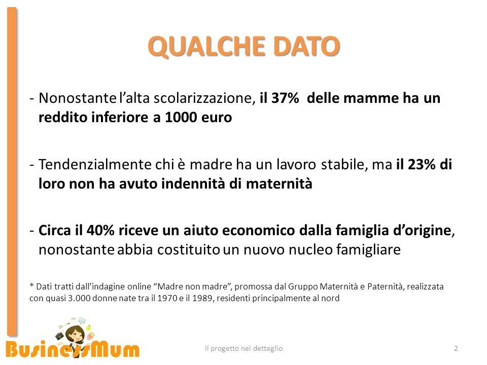 QUALCHE DATO -Nonostante lalta scolarizzazione, il 37% delle mamme ha un reddito inferiore a 1000 euro -Tendenzialmente chi è madre ha un lavoro stabi