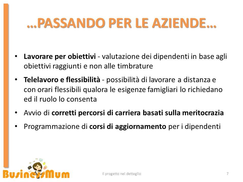 …PASSANDO PER LE AZIENDE… 7Il progetto nel dettaglio Lavorare per obiettivi - valutazione dei dipendenti in base agli obiettivi raggiunti e non alle t