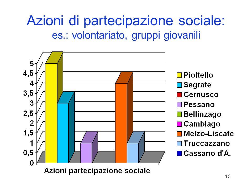 13 Azioni di partecipazione sociale: es.: volontariato, gruppi giovanili