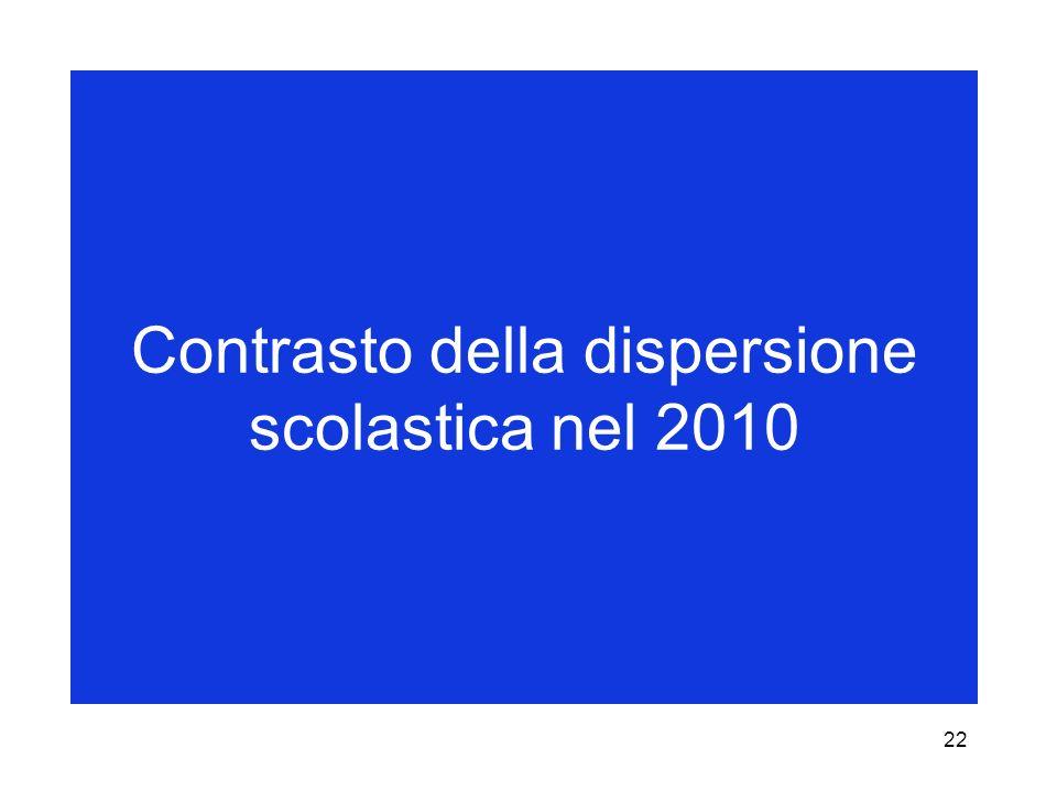 22 Contrasto della dispersione scolastica nel 2010