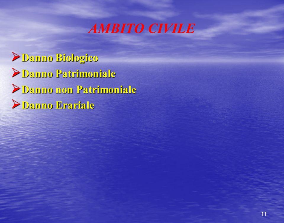 AMBITO CIVILE Danno Biologico Danno Biologico Danno Patrimoniale Danno Patrimoniale Danno non Patrimoniale Danno non Patrimoniale Danno Erariale Danno