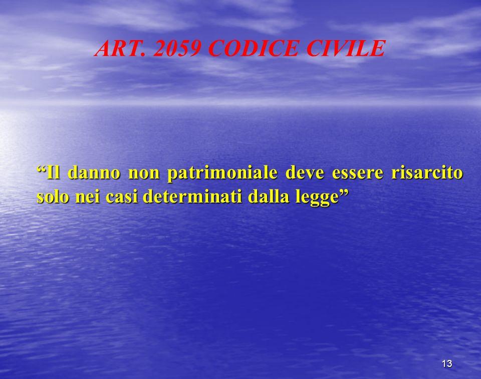 ART. 2059 CODICE CIVILE Il danno non patrimoniale deve essere risarcito solo nei casi determinati dalla legge 13