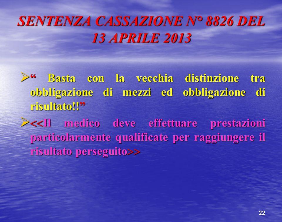 SENTENZA CASSAZIONE N° 8826 DEL 13 APRILE 2013 Basta con la vecchia distinzione tra obbligazione di mezzi ed obbligazione di risultato!! Basta con la