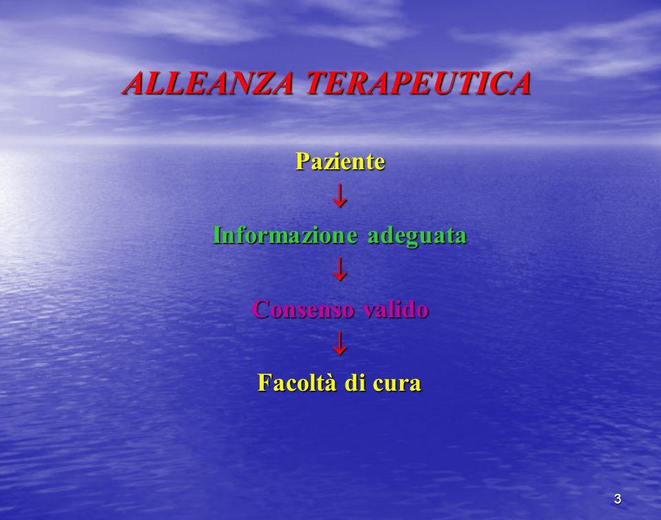ALLEANZA TERAPEUTICA Paziente Informazione adeguata Consenso valido Facoltà di cura 3