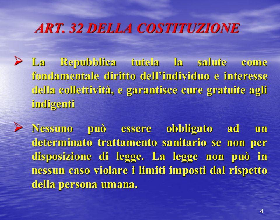 ART. 32 DELLA COSTITUZIONE La Repubblica tutela la salute come fondamentale diritto dellindividuo e interesse della collettività, e garantisce cure gr