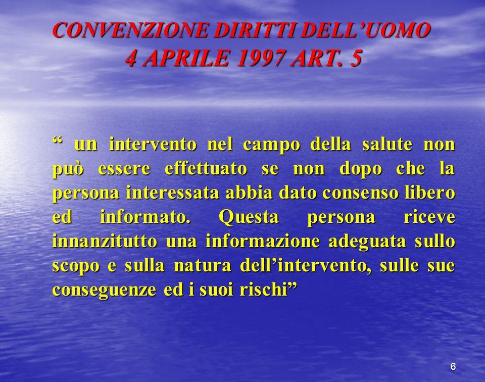 CONVENZIONE DIRITTI DELLUOMO 4 APRILE 1997 ART. 5 6 un intervento nel campo della salute non può essere effettuato se non dopo che la persona interess