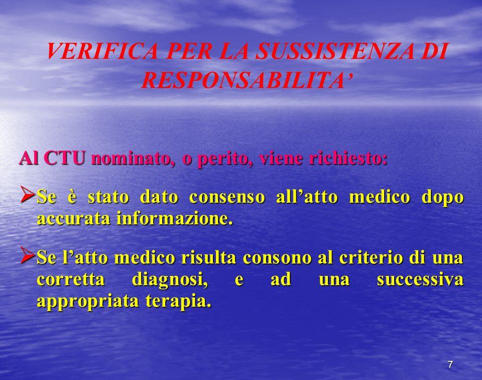 VERIFICA PER LA SUSSISTENZA DI RESPONSABILITA Al CTU nominato, o perito, viene richiesto: Se è stato dato consenso allatto medico dopo accurata inform