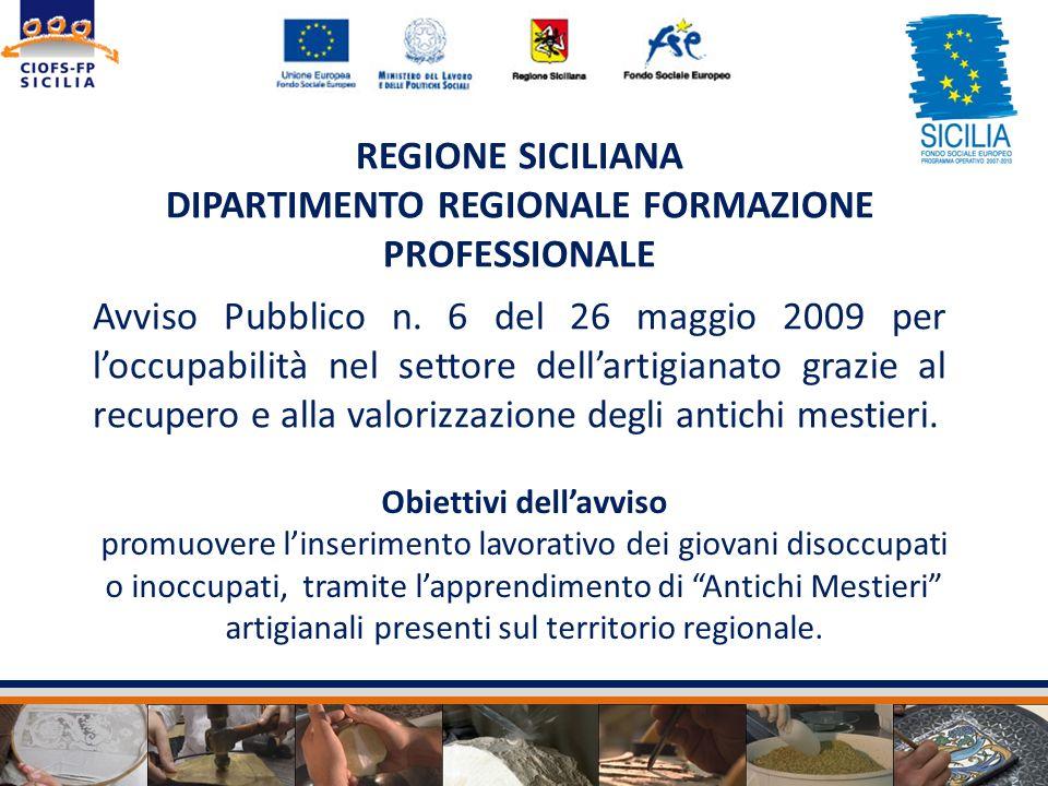 REGIONE SICILIANA DIPARTIMENTO REGIONALE FORMAZIONE PROFESSIONALE Avviso Pubblico n. 6 del 26 maggio 2009 per loccupabilità nel settore dellartigianat