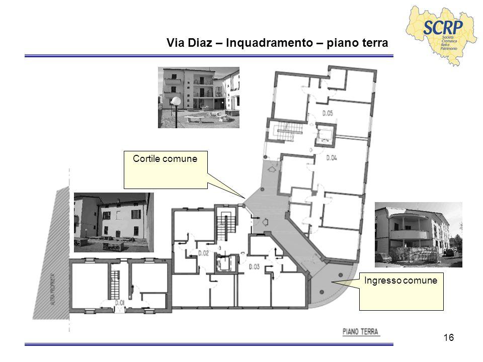 16 Via Diaz – Inquadramento – piano terra Ingresso comune Cortile comune