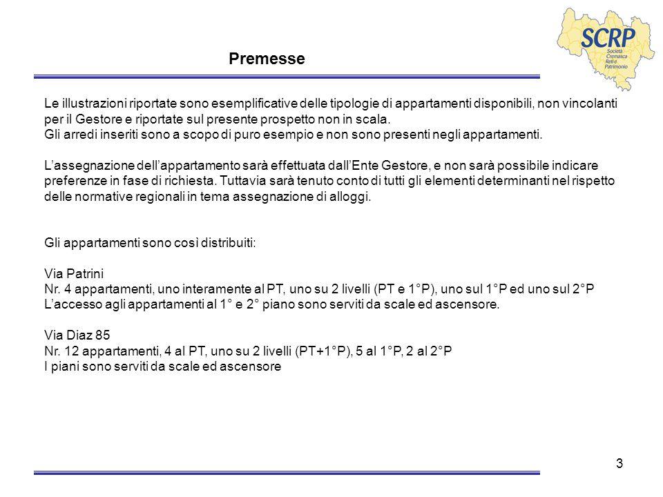 4 Indice Premesse Descrizione delle Unità Inquadramento Via Patrini Inquadramento Via Diaz