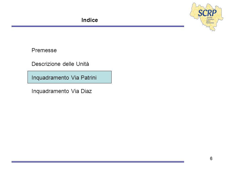 6 Indice Premesse Descrizione delle Unità Inquadramento Via Patrini Inquadramento Via Diaz