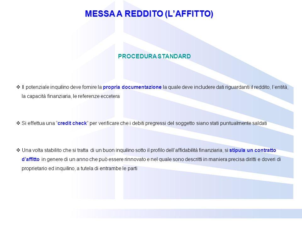 MESSA A REDDITO (LAFFITTO) PROCEDURA STANDARD Il potenziale inquilino deve fornire la propria documentazione la quale deve includere dati riguardanti