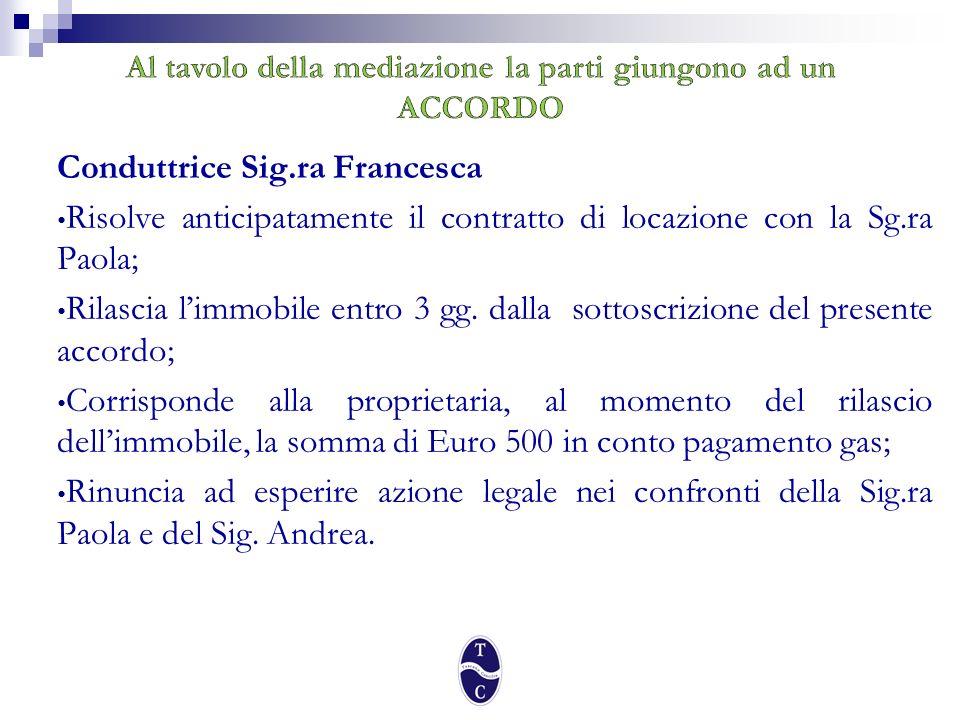 Locatrice Sig.ra Paola Riconosce alla conduttrice la somma di Euro 825 per differenza canoni da decurtarsi dalla bolletta del gas; Si accolla, a fronte del rilascio anticipato dellimmobile, la somma di Euro 650 in conto pagamento gas; Si impegna a sottoscrivere con il Sig.