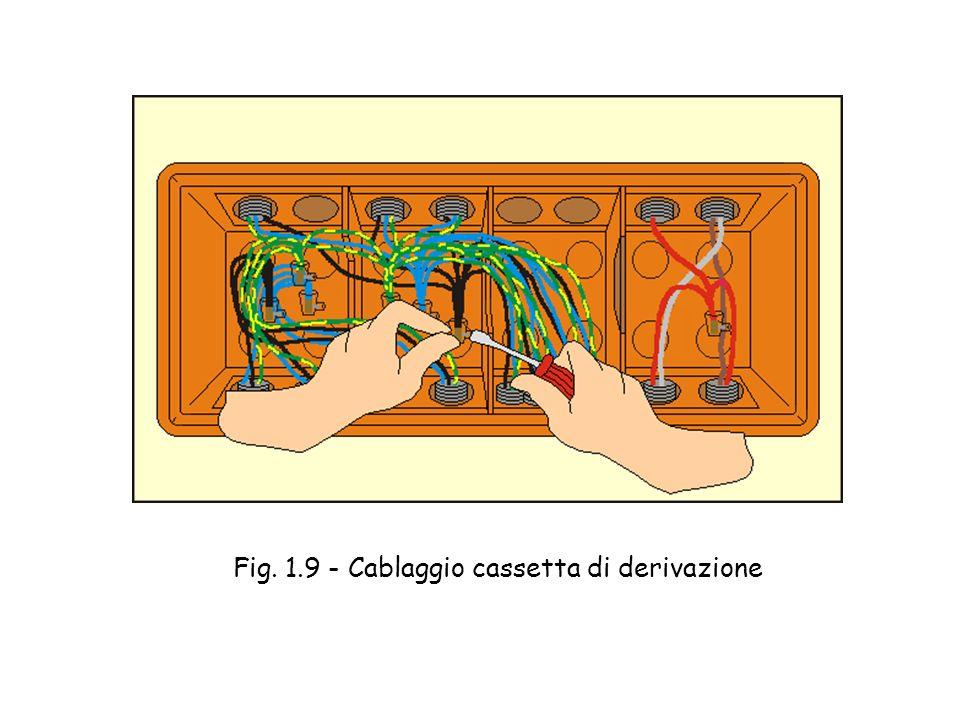 Cablaggio cassetta di derivazione - Si cablano le cassette di derivazione ordinando i vari circuiti ed effettuando le giunzioni mediante appositi mors