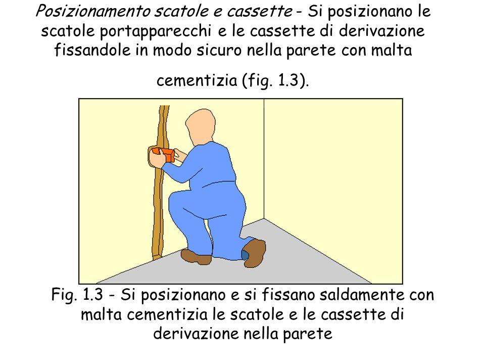 Scanalatura - Con martello e scalpello o con appositi attrezzi, seguendo le tracce indicate in precedenza, si pratica la scanalatura delle pareti, ric