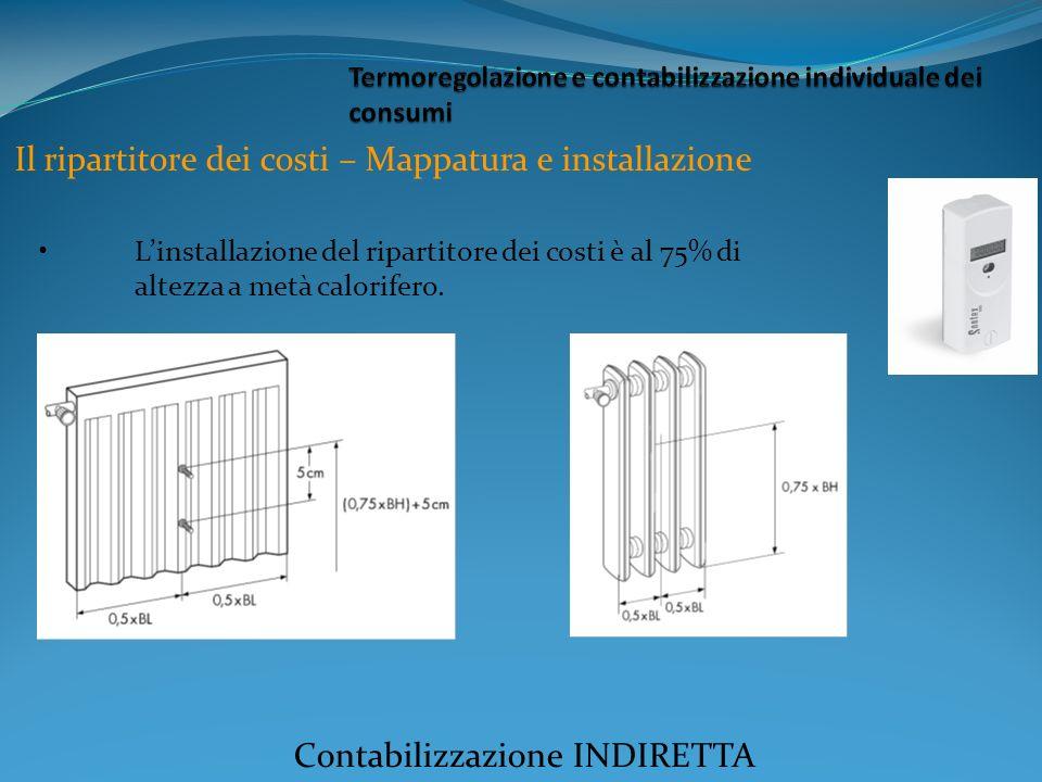 Linstallazione del ripartitore dei costi è al 75% di altezza a metà calorifero.