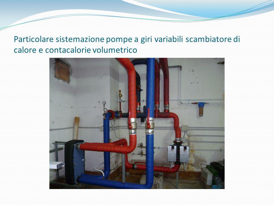 Particolare sistemazione pompe a giri variabili scambiatore di calore e contacalorie volumetrico