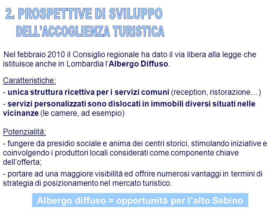 Nel febbraio 2010 il Consiglio regionale ha dato il via libera alla legge che istituisce anche in Lombardia lAlbergo Diffuso.