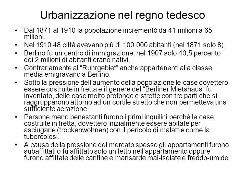 Urbanizzazione nel regno tedesco Dal 1871 al 1910 la popolazione incrementò da 41 milioni a 65 milioni. Nel 1910 48 città avevano più di 100.000 abita