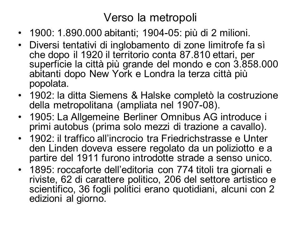 Verso la metropoli 1900: 1.890.000 abitanti; 1904-05: più di 2 milioni. Diversi tentativi di inglobamento di zone limitrofe fa sì che dopo il 1920 il