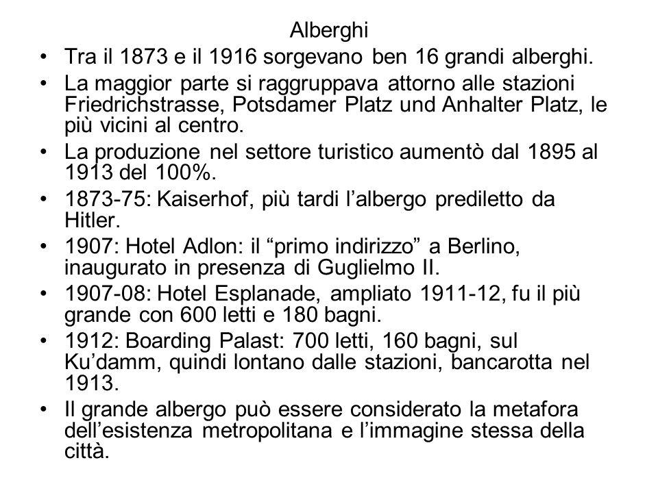 Alberghi Tra il 1873 e il 1916 sorgevano ben 16 grandi alberghi. La maggior parte si raggruppava attorno alle stazioni Friedrichstrasse, Potsdamer Pla