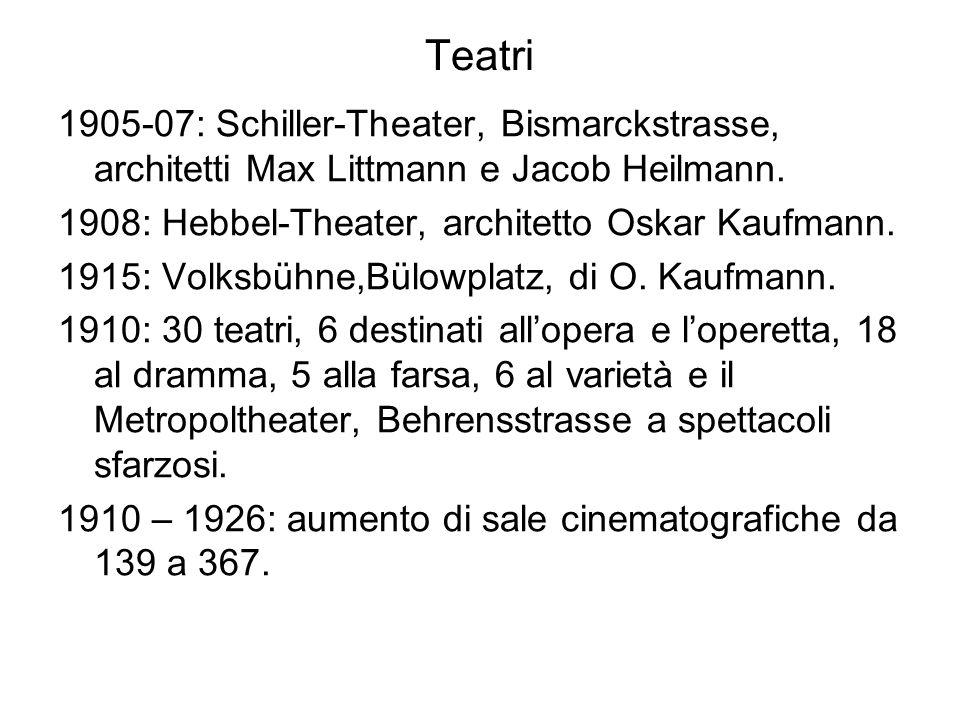 Teatri 1905-07: Schiller-Theater, Bismarckstrasse, architetti Max Littmann e Jacob Heilmann. 1908: Hebbel-Theater, architetto Oskar Kaufmann. 1915: Vo