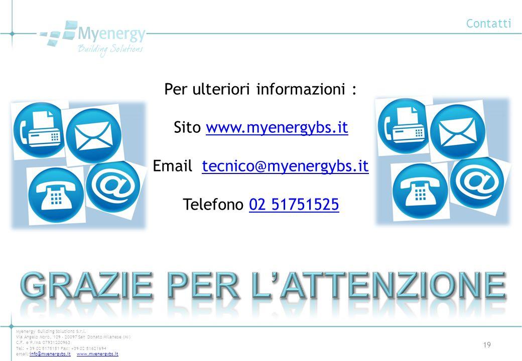 Contatti 19 Myenergy Building Solutions S.r.l. Via Angelo Moro, 109 - 20097 San Donato Milanese (MI) C.F. e P.IVA 07931200963 Tel: + 39 02 5175151 Fax