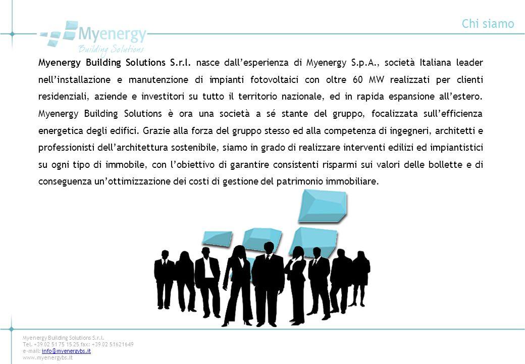 Chi siamo Myenergy Building Solutions S.r.l. nasce dallesperienza di Myenergy S.p.A., società Italiana leader nellinstallazione e manutenzione di impi