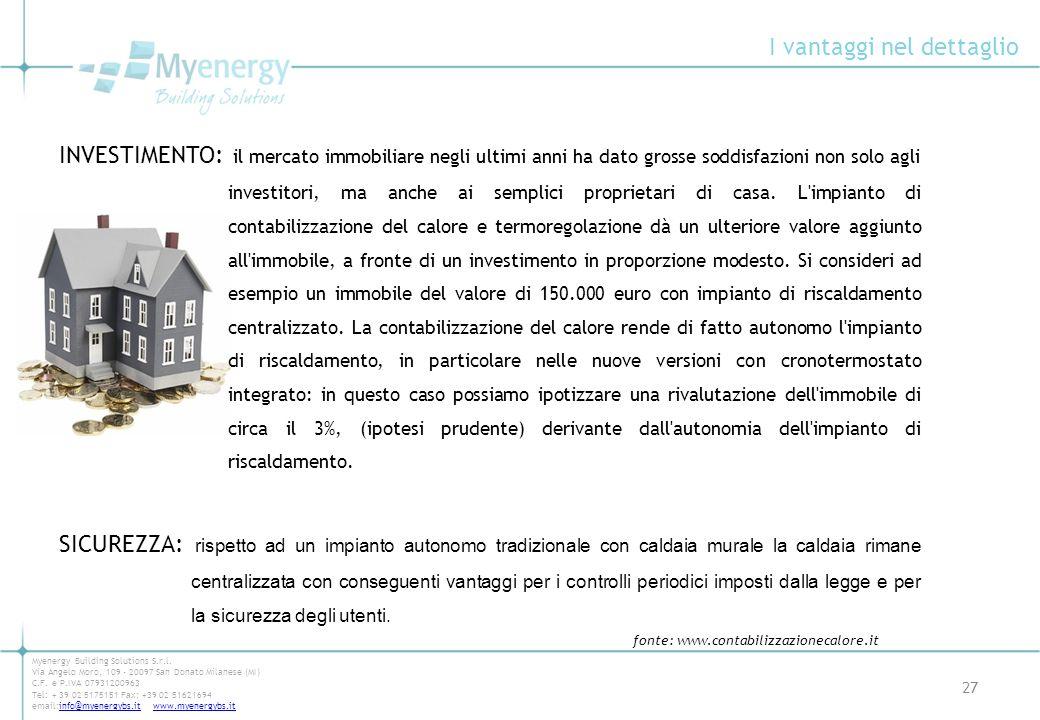 I vantaggi nel dettaglio 27 Myenergy Building Solutions S.r.l. Via Angelo Moro, 109 - 20097 San Donato Milanese (MI) C.F. e P.IVA 07931200963 Tel: + 3