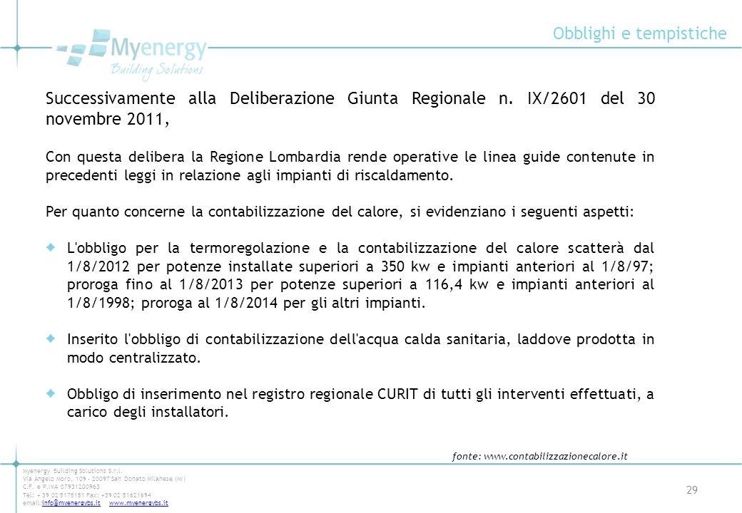 Obblighi e tempistiche 29 Myenergy Building Solutions S.r.l. Via Angelo Moro, 109 - 20097 San Donato Milanese (MI) C.F. e P.IVA 07931200963 Tel: + 39