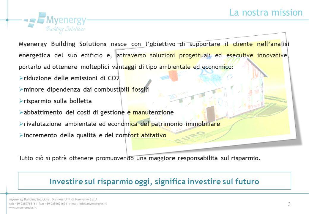 La nostra mission 3 Myenergy Building Solutions nasce con lobiettivo di supportare il cliente nellanalisi energetica del suo edificio e, attraverso so