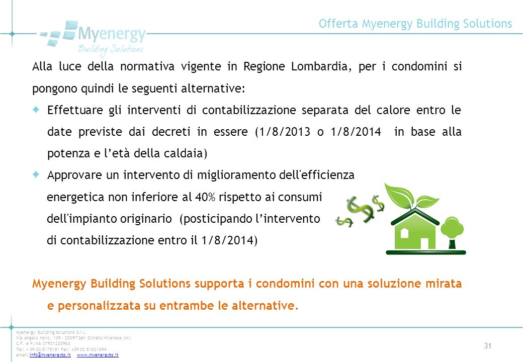 Offerta Myenergy Building Solutions 31 Myenergy Building Solutions S.r.l. Via Angelo Moro, 109 - 20097 San Donato Milanese (MI) C.F. e P.IVA 079312009