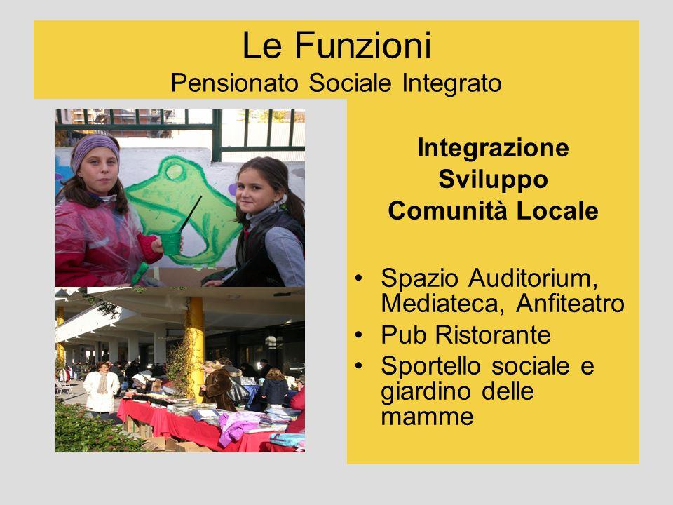 Le Funzioni Pensionato Sociale Integrato Integrazione Sviluppo Comunità Locale Spazio Auditorium, Mediateca, Anfiteatro Pub Ristorante Sportello socia