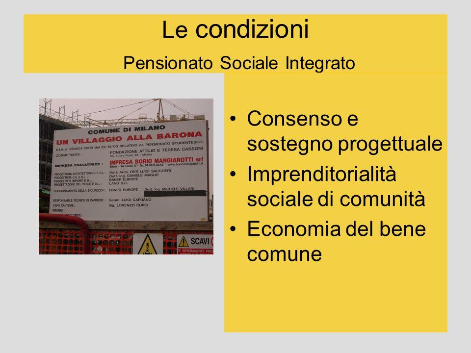 Le condizioni Pensionato Sociale Integrato Consenso e sostegno progettuale Imprenditorialità sociale di comunità Economia del bene comune