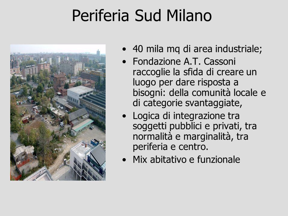 Periferia Sud Milano 40 mila mq di area industriale; Fondazione A.T. Cassoni raccoglie la sfida di creare un luogo per dare risposta a bisogni: della