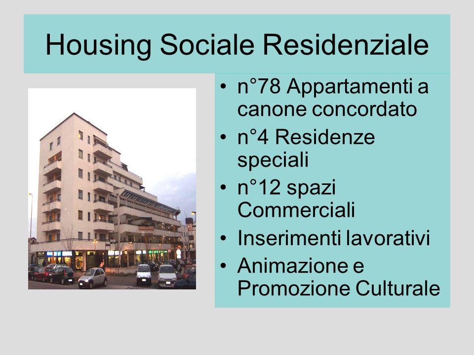 Housing Sociale Residenziale n°78 Appartamenti a canone concordato n°4 Residenze speciali n°12 spazi Commerciali Inserimenti lavorativi Animazione e P