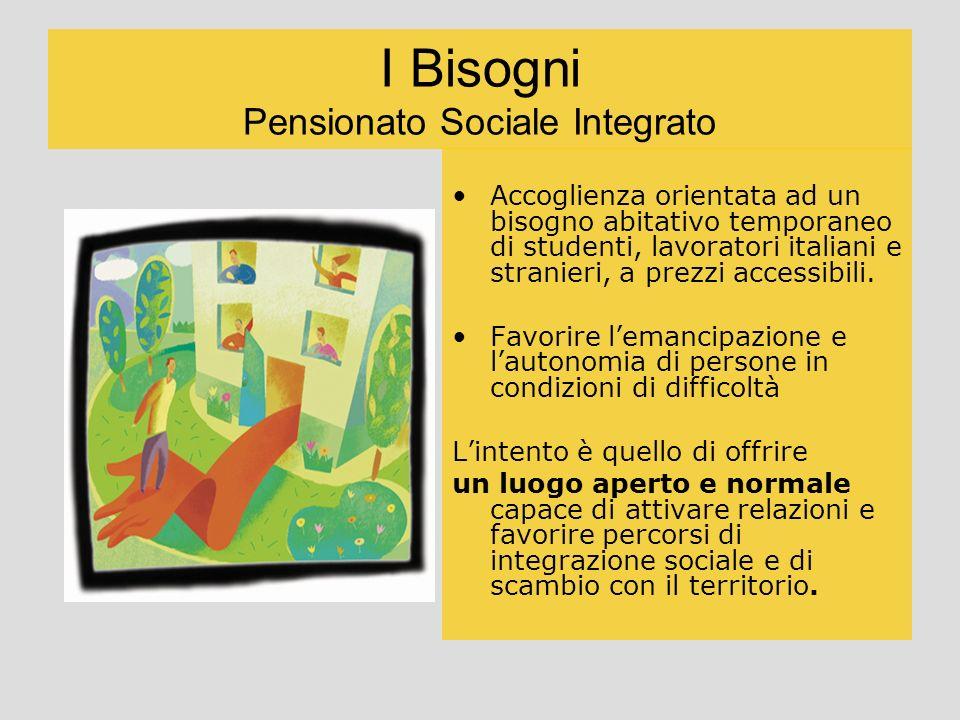 I Bisogni Pensionato Sociale Integrato Accoglienza orientata ad un bisogno abitativo temporaneo di studenti, lavoratori italiani e stranieri, a prezzi