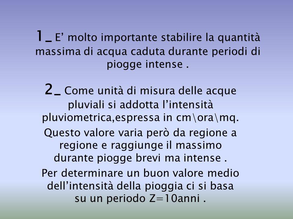 1_ E molto importante stabilire la quantità massima di acqua caduta durante periodi di piogge intense. 2_ Come unità di misura delle acque pluviali si