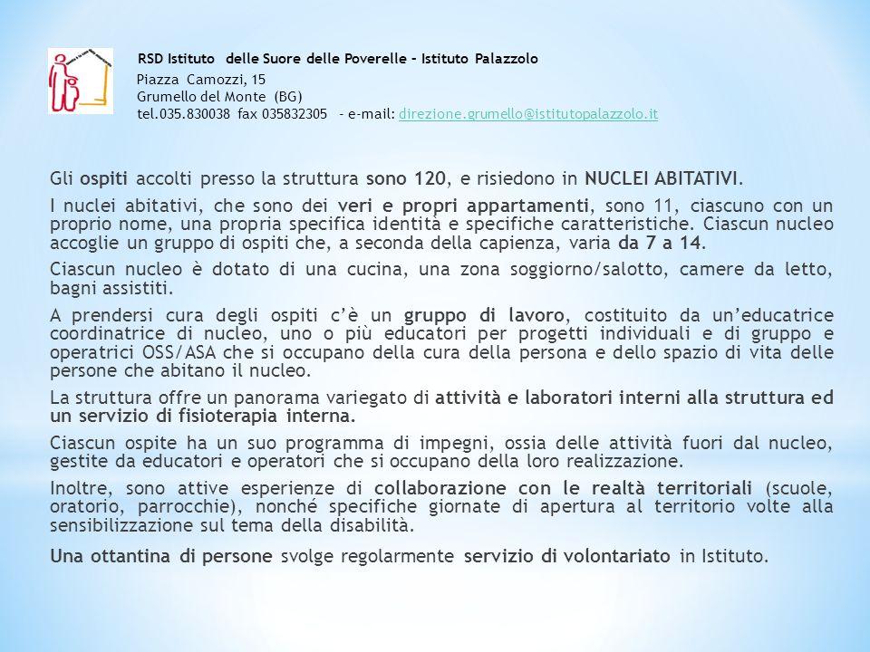 RSD Istituto delle Suore delle Poverelle – Istituto Palazzolo Piazza Camozzi, 15 24064 Grumello del Monte (BG) tel.035.830038 fax 035832305 - e-mail: