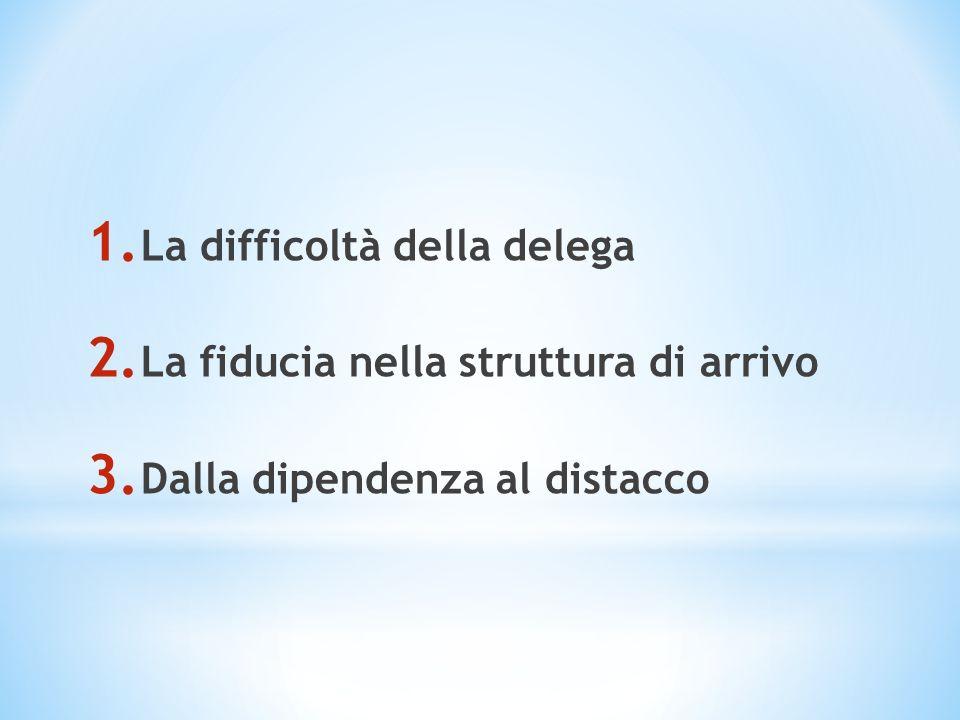 1. La difficoltà della delega 2. La fiducia nella struttura di arrivo 3. Dalla dipendenza al distacco
