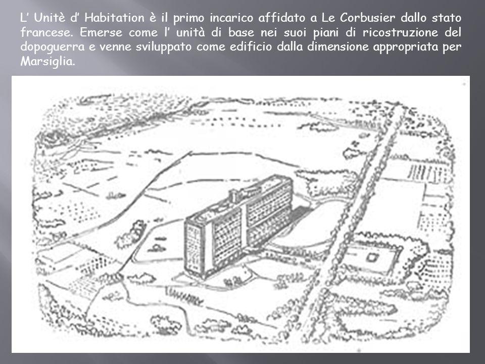 L Unitè d Habitation è il primo incarico affidato a Le Corbusier dallo stato francese. Emerse come l unità di base nei suoi piani di ricostruzione del