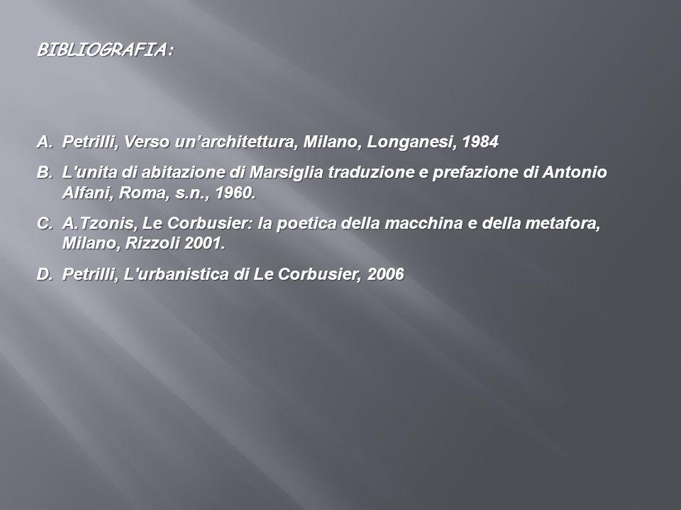 BIBLIOGRAFIA: A.Petrilli, Verso unarchitettura, Milano, Longanesi, 1984 B.L'unita di abitazione di Marsiglia traduzione e prefazione di Antonio Alfani