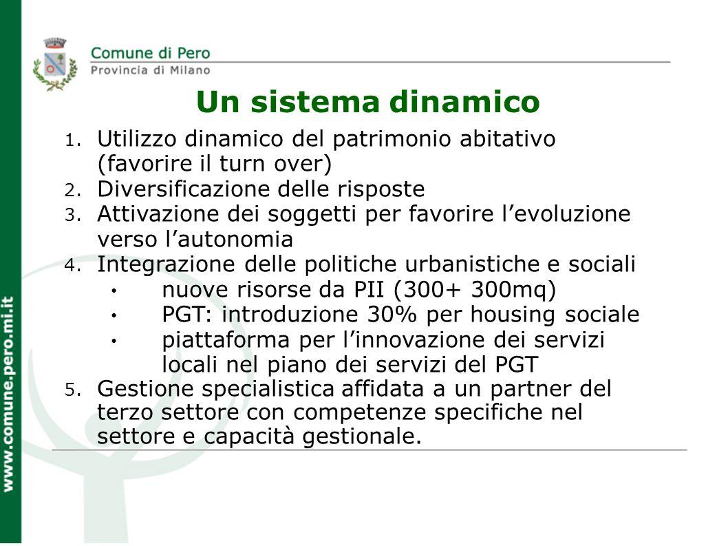 Un sistema dinamico 1. Utilizzo dinamico del patrimonio abitativo (favorire il turn over) 2. Diversificazione delle risposte 3. Attivazione dei sogget