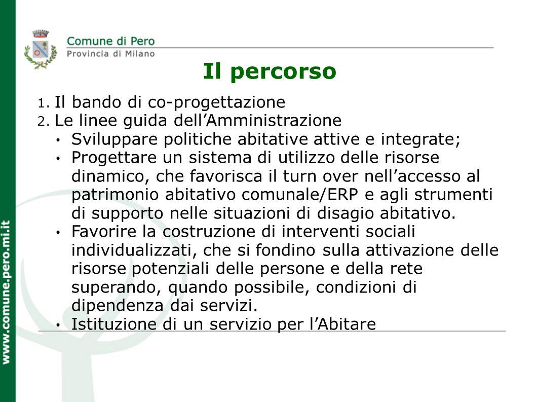 Il percorso 1. Il bando di co-progettazione 2. Le linee guida dellAmministrazione Sviluppare politiche abitative attive e integrate; Progettare un sis