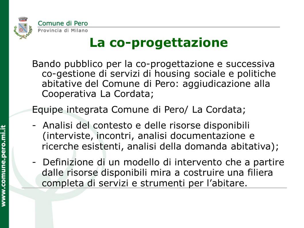 La co-progettazione Bando pubblico per la co-progettazione e successiva co-gestione di servizi di housing sociale e politiche abitative del Comune di