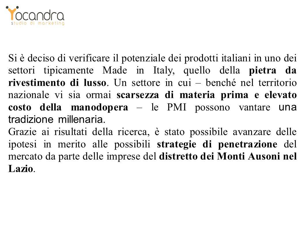 Si è deciso di verificare il potenziale dei prodotti italiani in uno dei settori tipicamente Made in Italy, quello della pietra da rivestimento di lusso.