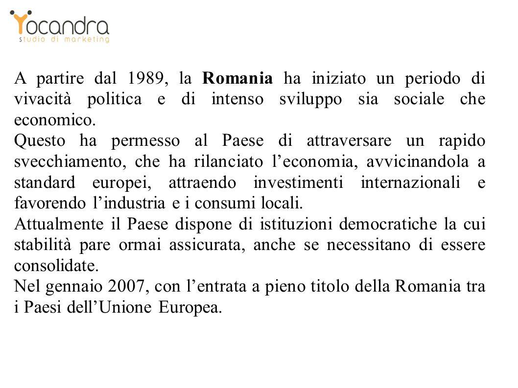 A partire dal 1989, la Romania ha iniziato un periodo di vivacità politica e di intenso sviluppo sia sociale che economico.