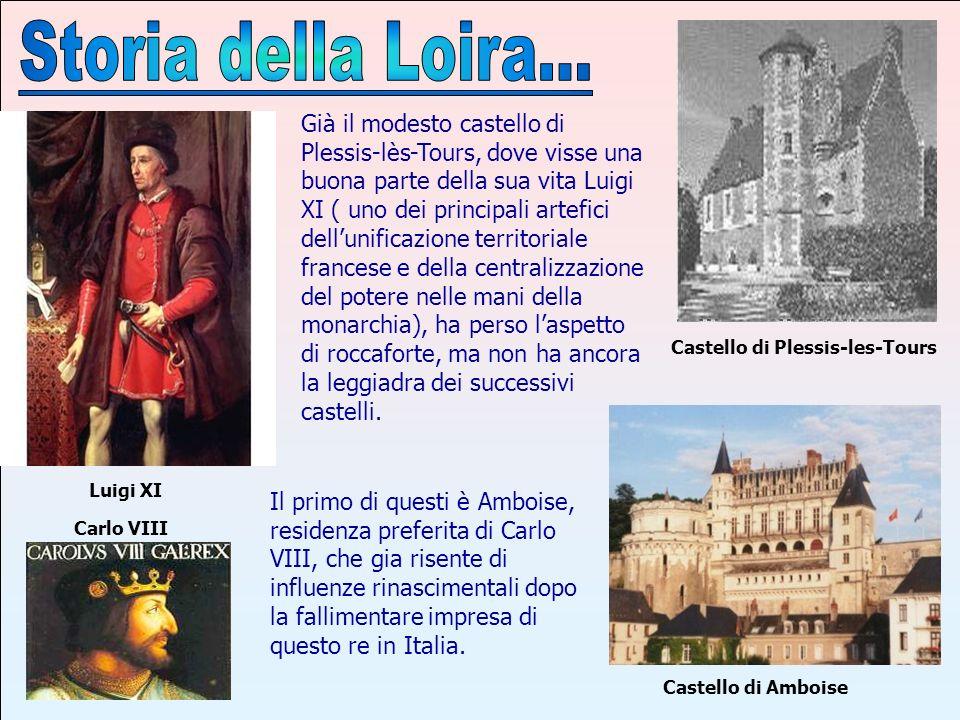 Con i re successivi, Luigi XII e soprattutto Francesco I, entrambi ancor più interessati allItalia, si entra in pieno Rinascimento Francese con apporti italiani e nella valle della Loira sorsero o furono modificati e abbelliti anche altri castelli, come quelli di Blois.
