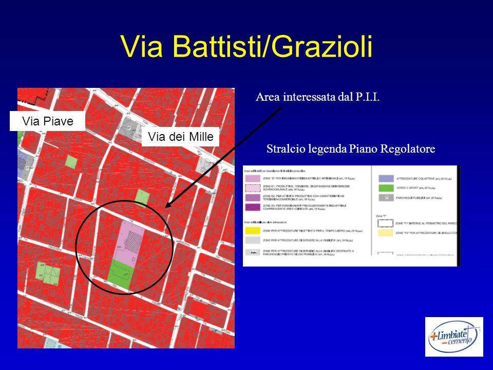 Via Battisti/Grazioli Area interessata dal P.I.I. Stralcio legenda Piano Regolatore Via dei Mille Via Piave