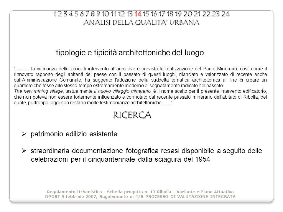 1 2 3 4 5 6 7 8 9 10 11 12 13 14 15 16 17 18 19 20 21 22 23 24 ANALISI DELLA QUALITA URBANA Regolamento Urbanistico - Scheda progetto n. 13 Ribolla -